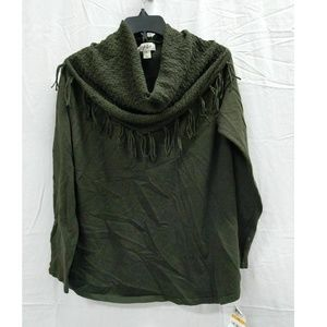 Style&CO S Olive Pull Over Scarf Sweater 6G57